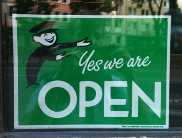 """Yes we are OPEN"" by h5b9 is licensed under CC BY-NC-SA 2.0"