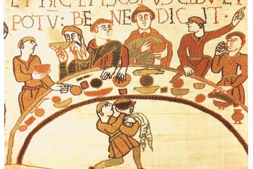 The feast of William the Conqueror. Detail from the Bayeux Tapestry.