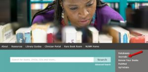 Library website homepage thumbnail with arrow to Journals link