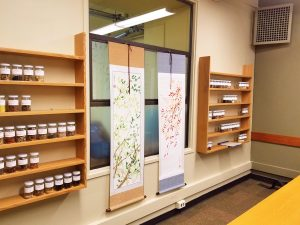 photo of study room with Chinese herb library