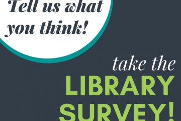 library survey promotional sign