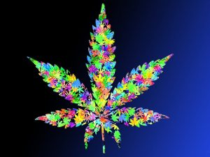 Multi-colored cannabis leaf