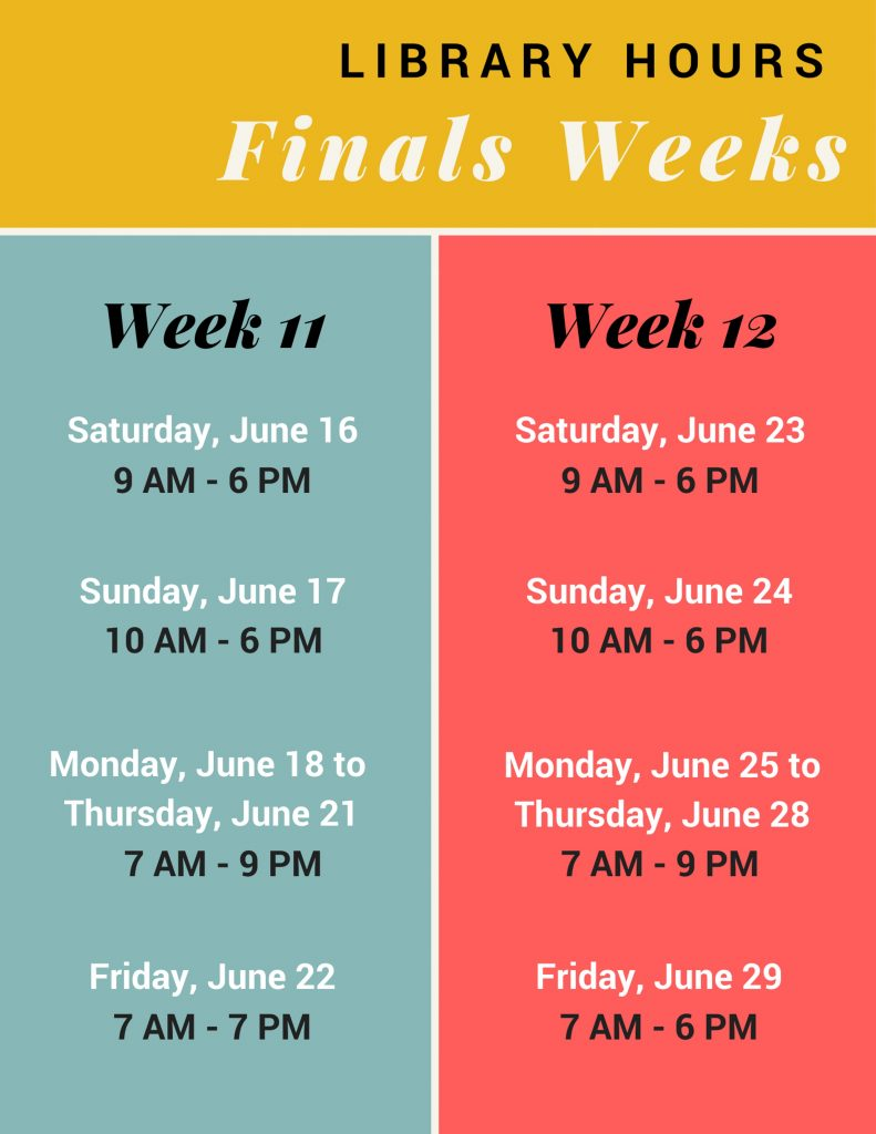 Hours for Finals