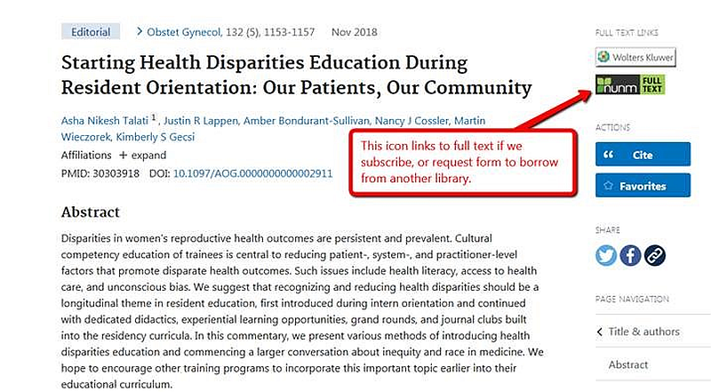 Screenshot of an example result in PubMed, showing the NUNM Full Text icon.