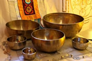 photo of several singing bowls