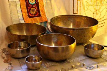 photo of several singing bowls