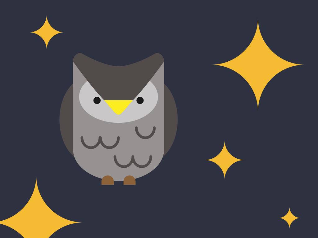 Cartoon owl at night